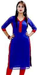 Bhavya Enterprise Self Design Women'S Kurti(Blue, Red)