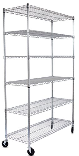 Internet's Best 6-Tier Wire Shelving | Chrome | Heavy Duty Shelf | Wide Adjustable Rack Unit with Locking Wheels | Kitchen Storage (Metro Wire Shelves compare prices)