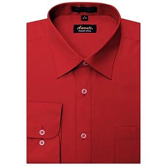 Amanti Dress Shirt-Red-Size: 14.5-Sleeve: 32/33-Neck: 14.5