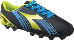 Diadora Soccer Avanti MD JR Soccer Shoe (Toddler/Little Kid/Big Kid),Black/Fluorescent Yellow/Blue,5.5 M US Big Kid