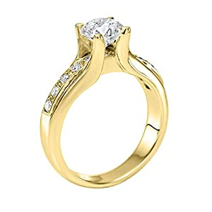 GIA Certified 14k yellow-gold Round Cut Diamond Engagement Ring (1.29 cttw, E Color, SI2 Clarity)