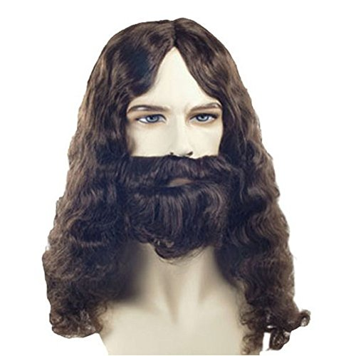 Jesus Christ Wig and Beard Bible Apostle Mustache Adult Costume Set Forest Gump