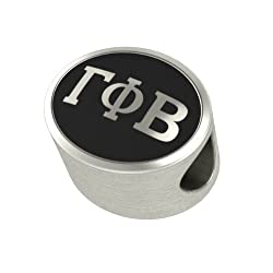 Gamma Phi Beta Black Antique Oval Sorority Bead Charm Fits Most Pandora Style Bracelets. High Quality Bead in Stock for Fast Shipping
