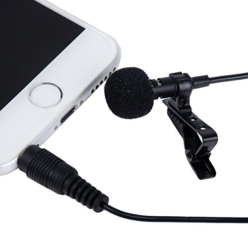 I3C Lavalier Clipon Omnidirectional Kondensatormikrofon Kugel Kondensator Lavalier Mic für iPhone, iPad, iPod Touch, Android und Windows Smartphones, Film Interviews Video Recording Picture