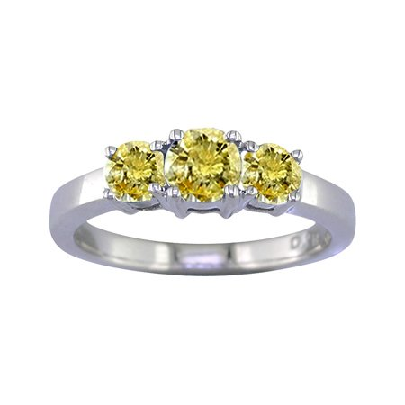 2 Ct 3-Stone Yellow Diamond Engagement Ring In 14K White Gold