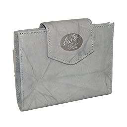 Buxton Womens Leather Attache Clutch Cardex Wallet and Coin Purse, Paloma Grey