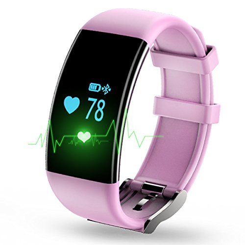 Longess Fitness Tracker, App-Enabled Bluetooth 4.0 Water Resistance Smart Watch, Sleep and Heart Rate Monitor Compatible with Android and IOS Smartphones (Pink)