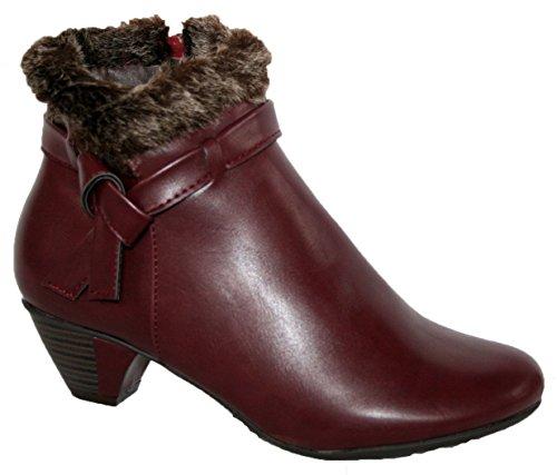 Cushion Walk da donna in finta pelle stivali alla caviglia con collo di pelliccia e chiusura con cerniera, viola (Wine), 40