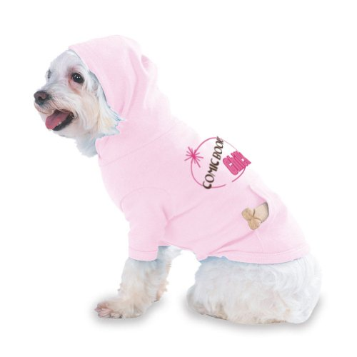 COMIC BOOK Chick Hooded (Hoody) T-Shirt with pocket for your Dog or Cat Medium Lt Pink