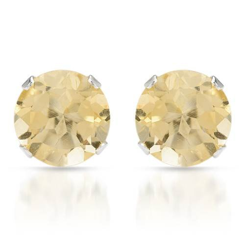 Stud Earrings With 2.60ctw Genuine Citrines Made in 925 Sterling silver