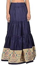 Simple Kaur Women's Silk Ethnic Bottom (simplekaur_0032--S, Blue, Small)