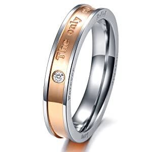 "Geminis New Fashion Black&rose Gold ""The Only Enternal Love"" Rhinestone(cz) Titanium Stainless Steel Wedding Band Anniversary/engagement/promise/couple Ring Best Gift! (The Lady's Ring, 6)"