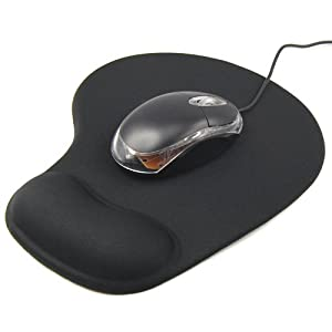 TRIXES Black Comfort Wrist Gel Rest Support Mat Mouse Mice Pad