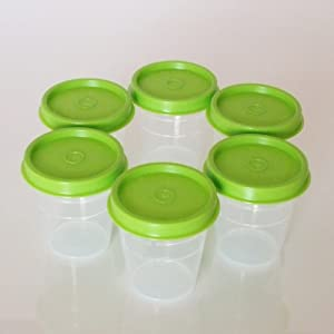 Tupperware Classic Sheer Midgets Set of 6, Green Seals
