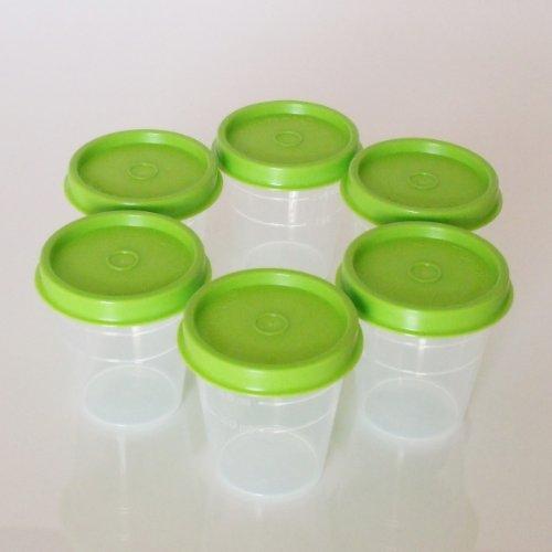 Tupperware Classic Sheer Midgets Set of 6, Green Seals