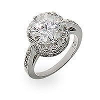 Crown Diamond Signity Star Cut CZ Ring