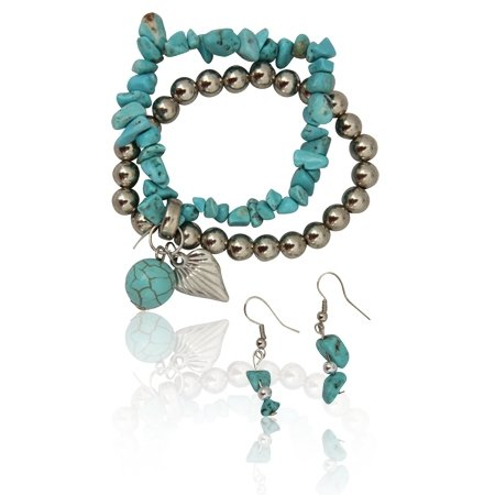 MizEllie Turquoise and Silver Bead Stretch Fashion Bracelet and Earring Set