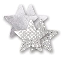 Nippies Silver Sequin Metallic Star Waterproof Self Adhesive Fabric Nipple Cover Pasties Size B
