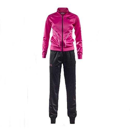 Kappa - Tuta Completo Felpa Donna Sport Tempo Libero Atletica Tennis Art. Tader - Colore: Black-Fuxia Purple - L