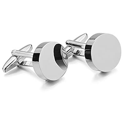 Men's Rhodium Plated Cufflinks Silver Round Shirt Wedding (with Gift Bag)