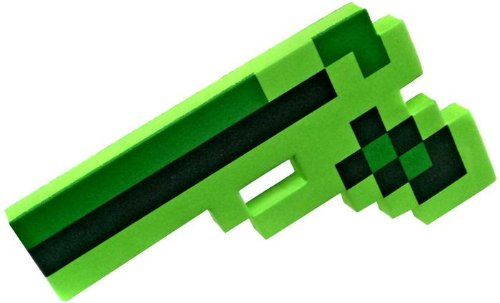 "8 Bit Pixelated Green Foam Gun Toy 10"" - 1"