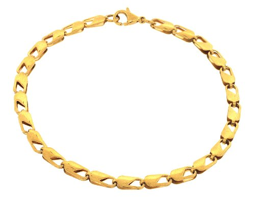 Men's Designer Gold Tone Polished Stainless Steel Link Chain Bracelet 10