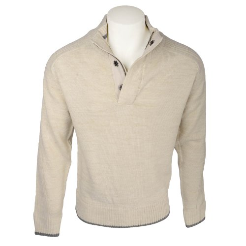 Harbour Collection Mens Oatmeal Marl Yarn 1/4 Button Neck Knit Jumper in Size Small