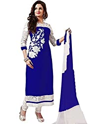 Shree Khodal Women's Blue Georgette Dress Material [SK_JCN1032_A]