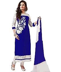 Diya Women's Blue Georgette Designer Dress Materials [DS_JCN1032_D]