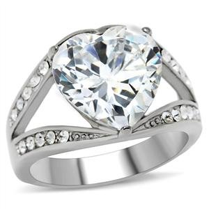 ENGAGEMENT RING - High Polished Stainless Steel Split Ring with Big Clear Heart Cut CZ in 3- Prong Setting