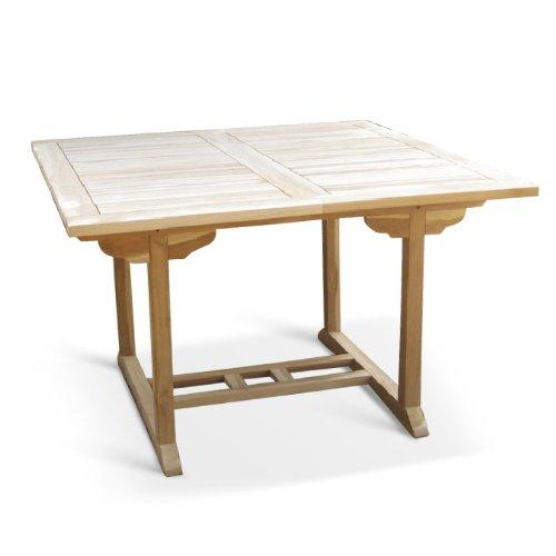 XXS® Möbel Gartentisch Madera hochwertiges Teak Holz geschliffene Oberfläche Tisch ausziehbar widerstandsfähig pflegeleicht Lager Speditionsversand