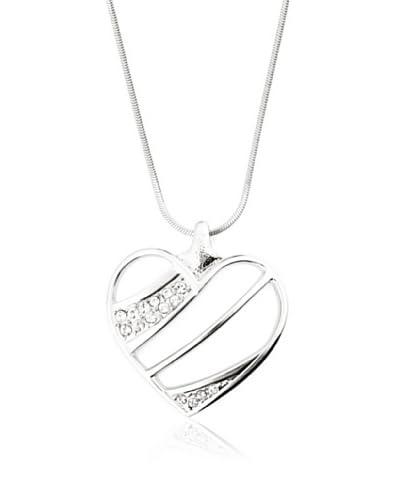 Bohemian Love Story Collar Strass Striped Heart Large Plateado 42 cm