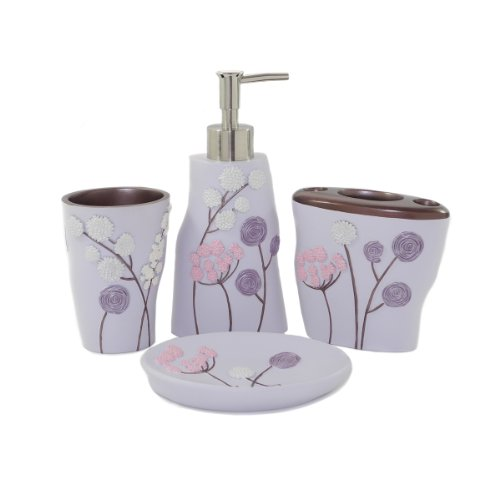 Bath bath bathroom accessories floral bathroom accessories set - Purple Bathroom Accessories Will Brighten Up Your Bathroom