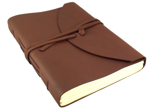 "Large Genuine Leather Legacy Journal / Sketchbook with Gift Box - 400 Pages - 9"" x 12"" - Rich Dark Brown"