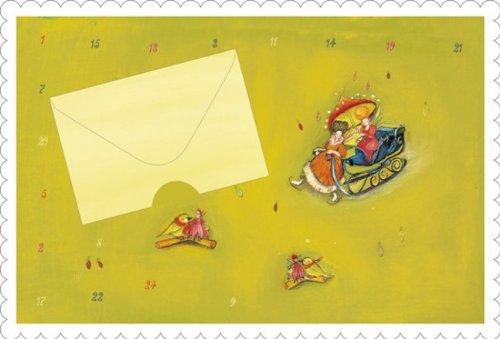 """Weihnachtskarte Weihnachten""""Adventskalender mit 24 Türchen"""" mit kleinem Geldumschlag Karte mit Umschlag (grün)"""