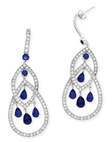 Platinum Plated C.Z. Diamond Sapphire Geometric Dangling Earrings (Nice Holiday Gift, Special Black Firday Sale)