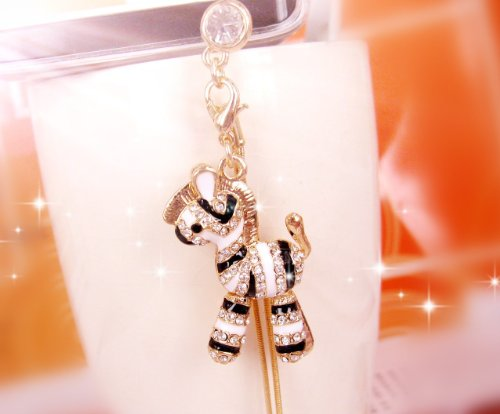 Cjb Dust Plug / Earphone Jack Accessory Zebra Long Chain For Iphone 4/5 All Device With 3.5Mm Jack (Us Seller)