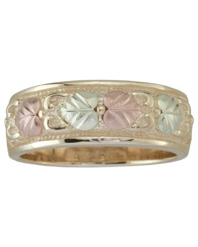 Womens 10k Yellow Gold, 12k Pink Gold and 12k Green Gold Grape Leaf Band, Size 8