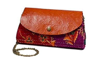 "Fair Trade Handmade ""Jogi"" Leather and Fabric Clutch with Gold Chain"
