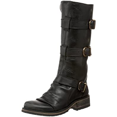 Steve Madden Women's Buckkie Boot,Black Leather,6 M US
