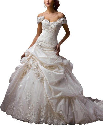 GEORGE BRIDE Removable Capped Sleeves Taffeta Pick-up Ball Gown Size 6 Ivory