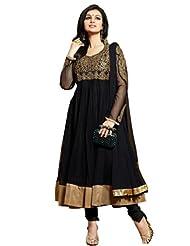 Riti Riwaz Anarkali Style Black Georgette Salwar Suit | 15010