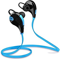 ManeKo JOGGER Sport Bluetooth 4.1+EDR Stereo Sweatproof Earphones Headset with Built-In Microphone High Quality Stereo Sound & Sleek Custom Earbuds for Running, Jogging, Gym, Hiking, Extreme Sports for All IPhones, Samsung iOS Windows Android Smartphones, IPads - Blue