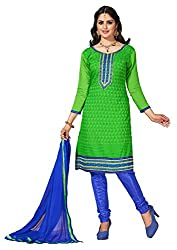 Parisha s Green Embroidered Chanderi Straight Suits Dress Material(Green,Blue)
