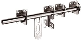 "Stainless Steel 304 Long Slide Bolt Latch, Polished Finish, Padlockable, 11 13/16"" Length (Pack of 1)"