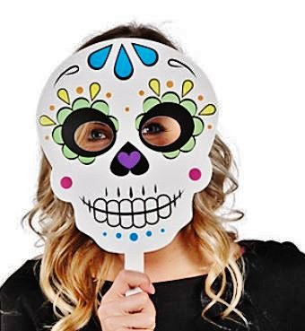 Day of the Dead Handheld Masks (Paper Skull Mask compare prices)