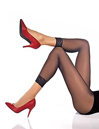 Fashionlegs 100% Italian yarns Footless Tights Finished with a Lace Trim (xs/s)