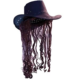 Billy-bob cowboy hat w/brown long hair (Package Of 3) from USA