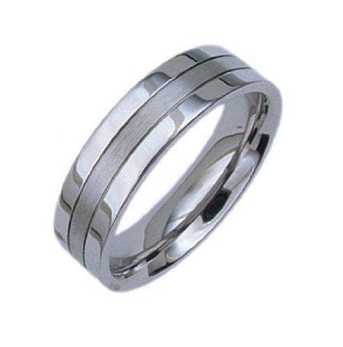 Comfort Fit~ Post Modern Stainless steel Man Wedding Promise Ring band sz7