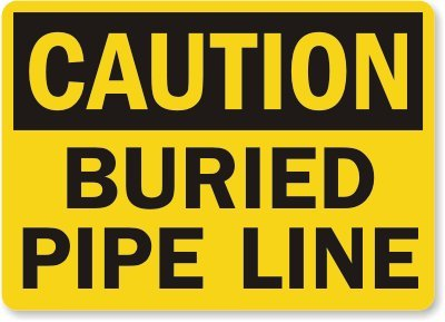 "Smartsign Aluminum Osha Safety Sign, Legend ""Caution: Buried Pipe Line"", 7"" High X 10"" Wide, Black On Yellow"